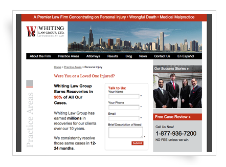 Whiting Law Group - Landing page